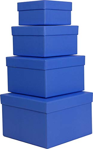(Cypress Lane Square Rigid Gift Boxes for Boys, a Nested Set of 4, 3.5x3.5x2 to 6x6x4 inches (Blue) )