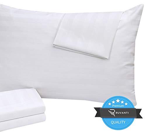 Ruvanti 2 Pack Pillow Protectors (Standard 20x26).Soft, Breathable & Quite Pillow Covers, Zippered Pillow Protectors Cotton Enriched 400 Thread Count Pillow Case Covers, Premium Pillow Cases.