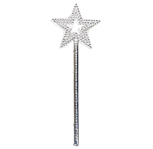 Wand Star Magic (AKOAK Star Wand,13 Inches Silver Fairy Princess Angel Wand)