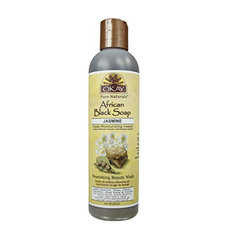 OKAY African Black Soap Liquid, Jasmine, 8 Fluid Ounce