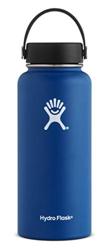 Hydro Flask 32 oz Double Wall Vacuum Insulated Stainless Steel Leak Proof Sports Water Bottle, Wide Mouth with BPA Free Flex Cap, Cobalt (Renewed)