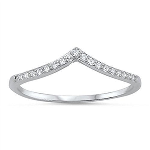 Silver Chevron Ring - Women's Chevron White CZ Promise Ring New .925 Sterling Silver Band Size 6