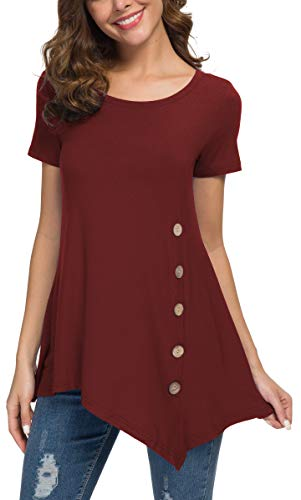 - Viishow Women's Short Sleeve Casual Round Neck Loose Tunic Top Blouse T-Shirt with Buttons Wine Red XXL