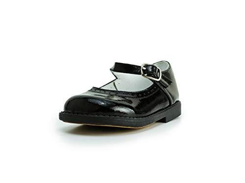 Subibaja Matilda - Mary Jane Leather Narrow Flat Shoes for Baby Girls | Toddlers 18BP Black (Platform Formal Shoes Mini)