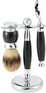 Anself 3 in1 Men's Shaving Set Badger Shaving Brush + Razor + Razor Stand, Resin Handle Aluminium Alloy Razor