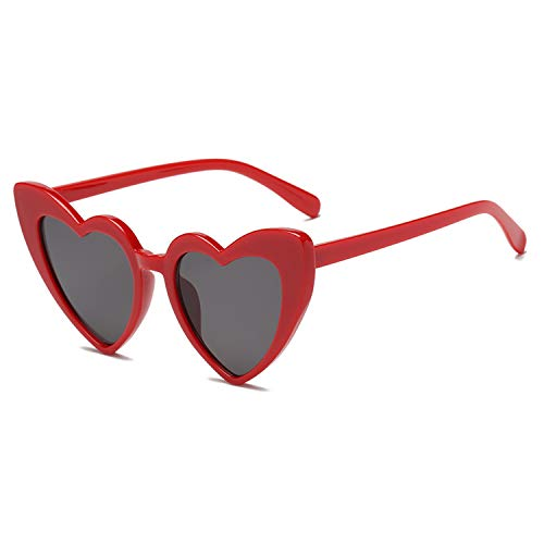 Heart-Shaped Sunglasses Women Vintga Black Pink Red Heart Shape Sun Glasses (C5) -