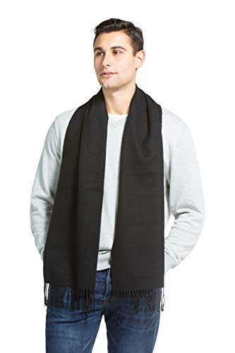 Fishers Finery Men's 100% Pure Cashmere Scarf, Warm and Comfortable (Black)