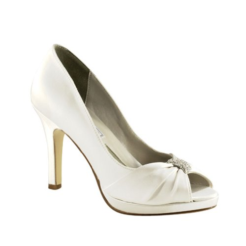 Liz Rene Couture Women's Jacqueline Platform Pump,White Silk Satin,7.5 M US (Jacqueline Bridal Shop)