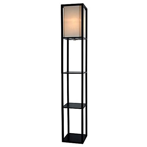 Light Accents Wooden Floor Lamp with White Linen Shade (Black) - Hubbardton Forge Bronze Floor Lamp