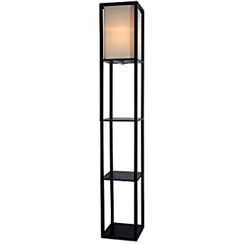 Wooden shelves floor lamp with white linen shade black amazon wooden shelves floor lamp with white linen shade black aloadofball Choice Image