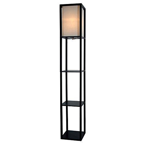 Wooden Shelves Floor Lamp With White Linen Shade Black