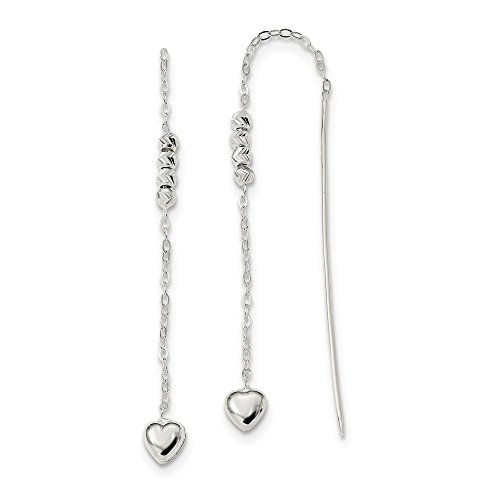 Sterling Silver Polished and D/C Heart Beaded Threader (Beaded Sterling Silver Threader Earrings)