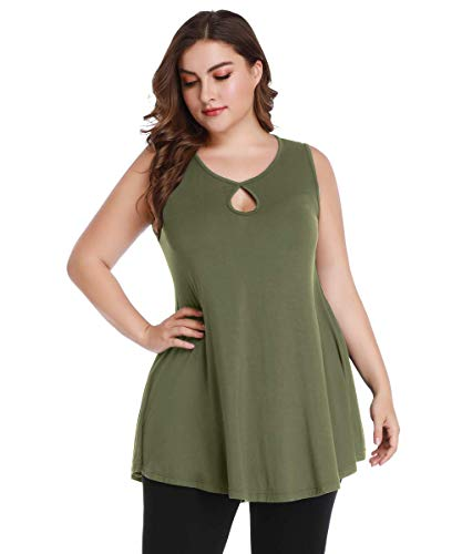 - MONNURO Womens Sleeveless Swing Flowy Round Neck Plus Size Long Tunic Tank Tops Army Green 3X