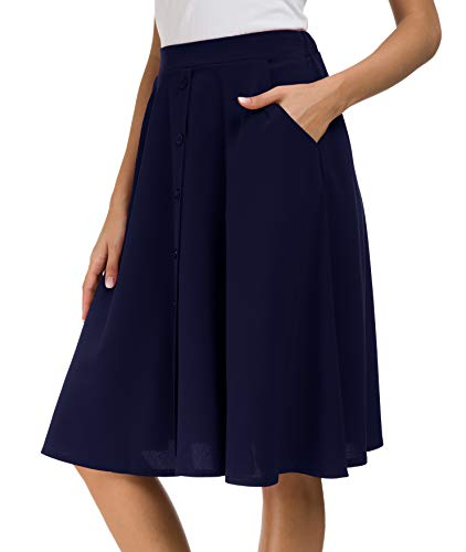 Afibi Women's High Waisted A Line Pleated Midi Skirt Button Front Skirts with Pocket (Large, Navy Blue)
