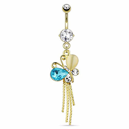 Multi Gems on Butterfly Freedom Fashion 316L S. Steel Gold Plated Navel Ring (Belly 14kt Gold Butterfly Ring)