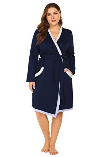 - IN'VOLAND Plus Size Women Waffle Bathrobe Lightweight Kimono Robes Spa Robes Sleepwear Loungewear