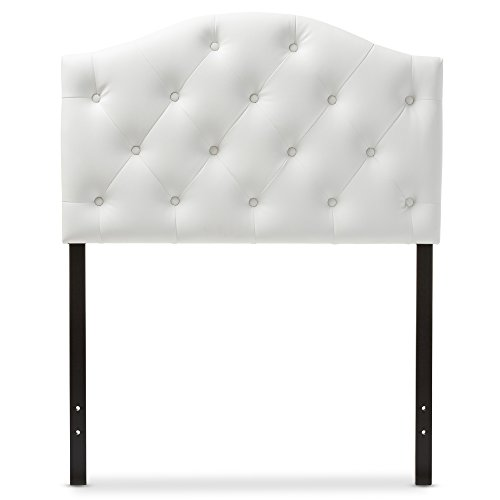 Baxton Studio Marcelon Modern and Contemporary White Faux Leather Upholstered Button Tufted Scalloped Headboard, Twin