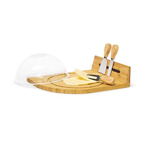 Relaxdays Käsebrett mit Glocke HBT: 14 x 31 x 25,5 cm Käseplatte mit Käsebesteck 3 teilig und Käseglocke aus Kunststoff als Servierplatte und Käseschneidebrett Bambus Käseteller mit Käsehaube, natur