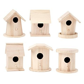 (Darice Bulk Buy DIY Wood Birdhouse Finch Promo Assortment 5-7 inches Each (6-Pack) 9180-10)