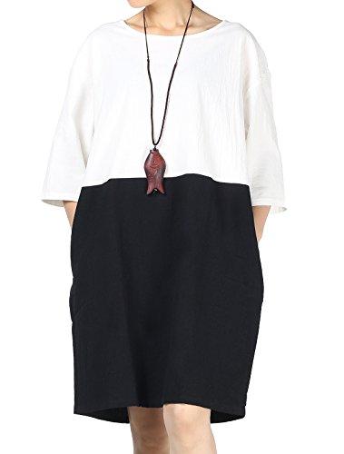 Mordenmiss Women's Cotton Linen Dress Color Block Shift Dresses M-3XL (M, -
