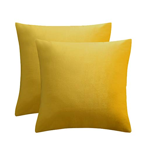 JUSPURBET Velvet Pillow Covers 26x26 Inches,Pack of 2 Throw Pillow Covers for Sofa Couch Bed,Decorative Super Soft Throw Pillows Cases,Yellow (Velvet Couch Yellow)