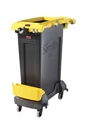 (Rubbermaid Commercial Products 2032954 Slim Jim Rim Caddy Kit + 23 gal Container, Yellow)