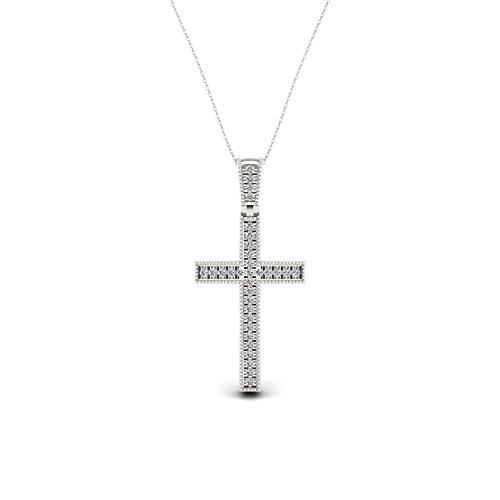 IGI Certified 1/20ct TDW Sterling Silver Diamond Cross Necklace, Diamond Pendant for Women (I-J, I2) ()