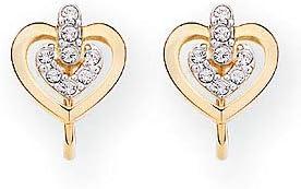 SWAROVSKI Heart Button Clip Earrings