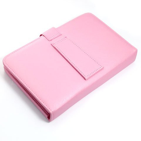 [Aftermarket Product] Universal Pink Protective Faux Leather Case+USB Keyboard+Micro Adapter For 7 inch Android Tablet PC MID New