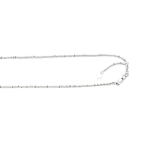 JewelryWeb 10k White Gold Adjustable Sparkle Chain Neckla...