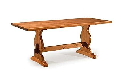 Arredamenti Rustici Tavolo rustico in legno di pino -Grezzo (Non ...