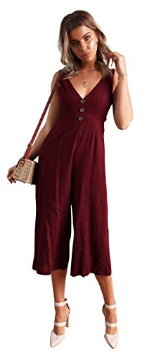 ALAIX Womens Casual V Neck Spaghetti Strap Jumpsuit Sleeveless Backless Wide Leg Overalls Rompers
