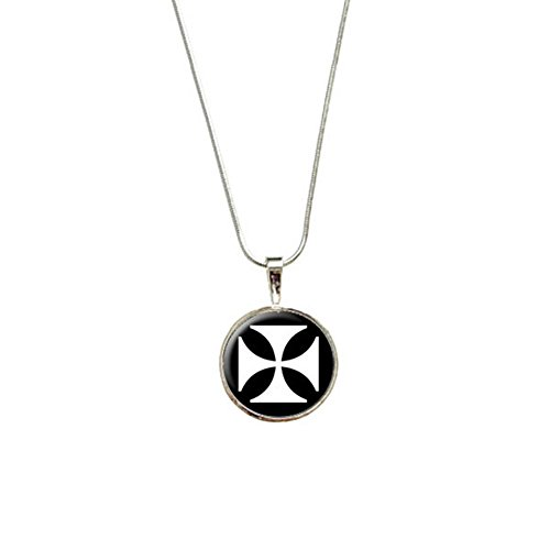 Iron Maltese Cross Pendant with Sterling Silver Plated Chain