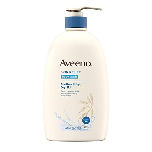 (Aveeno Skin Relief Fragrance-Free Body Wash with Oat to Soothe Dry Itchy Skin, Gentle, Soap-Free & Dye-Free for Sensitive Skin, 33 fl. oz)