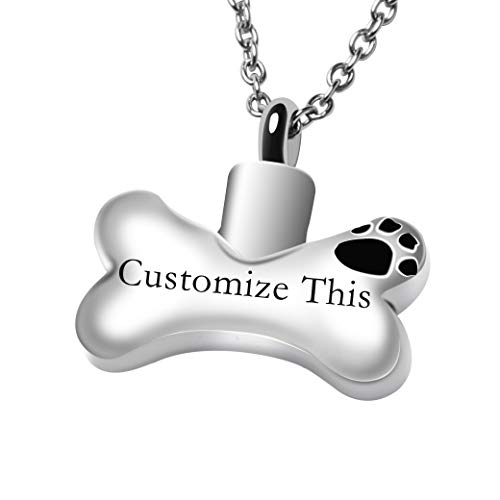 Fanery Sue Dog Bone Personalized Custom Cremation Jewelry Urn Necklace for Ashes Keepsake Dog Cat Pet Memorial Pendant(Silver - Necklace Bone Mens