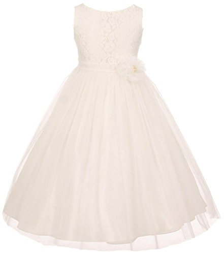 AkiDress Lace Top Tulle Bottom with Pearl Flower T-Length Dress for Big Girl Ivory 8 (Dresses Size Girl Flower Plus)
