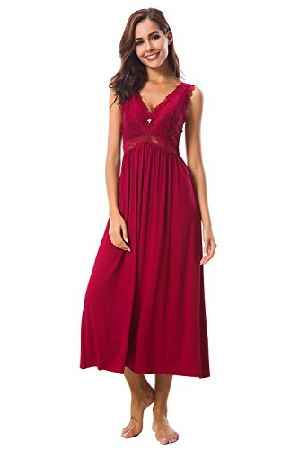 Womens Sleepwear Lace Lingerie Chemises V Neck Nightgown Long Sexy Sleep Dress Sleeveless Lace for Women Elegant (Wine, X-Large)