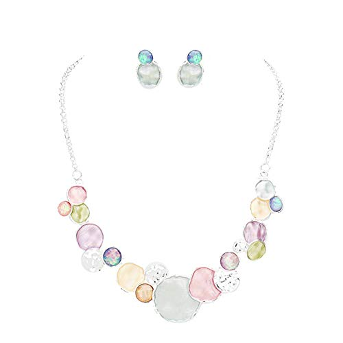 Hush Mod Look Frosted Pastel Lavender Sea Foam Green Peach Pink Beaten Silvertone Bib Necklace 17