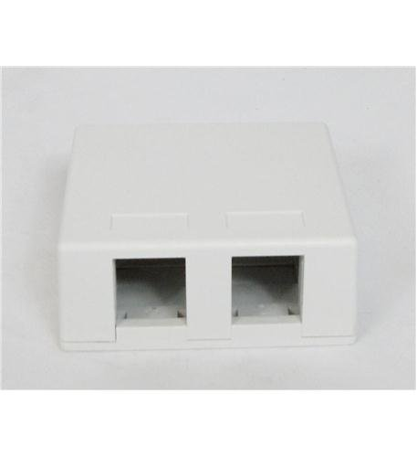 Country Junction Phone - ICC Modular Connector Surface Mount Outlet Junction BOX 2-PORT, 25 Pack White