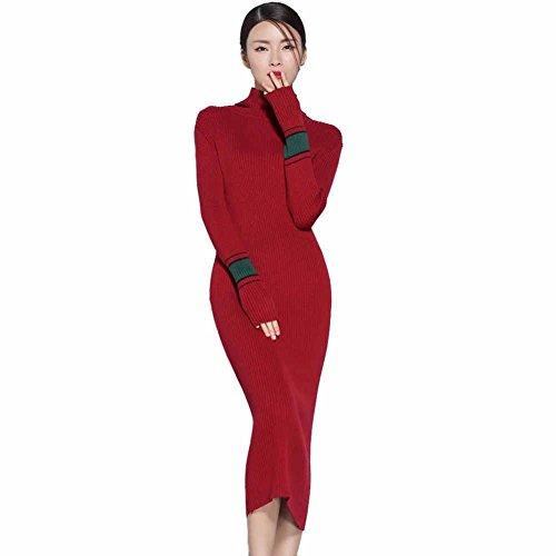Womens Cashmere Dress (Cashmere dress Women's Long Sleeve Slim Fit Dress,Knit Stretchable Elasticity Turtleneck Dress (Red))
