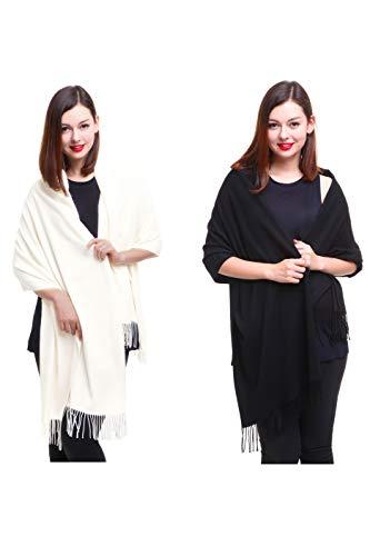 REEMONDE Large Extra Soft Cashmere Blend Women Pashmina Shawl Wrap Stole Scarf (2 Pack - Black & Cream)