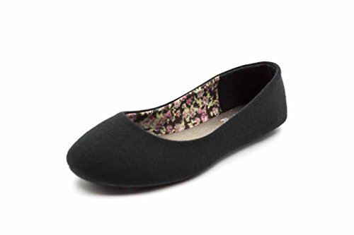 Simply Petals Girls Cute Jersey Ballet Flats (2 Little Kids, Black)]()