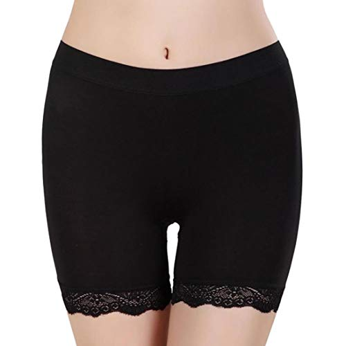 Anyren Women Leggings Pants Casual Lace Solid Stretchy Underwear Shorts Seamless Safety (Black, Free)