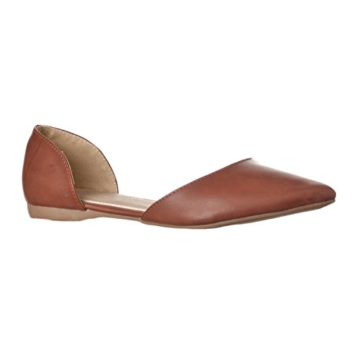 Riverberry Women's Riley Pointed Toe d'Orsay Open Side Flat, Brown PU, 9
