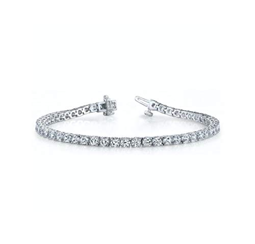 Chayanika Art 0.25 Carat Single Round Cut Solitaire Daimond 18 KT White Gold Finish Tennis Bracelet for Men Women Girls in Silver .925