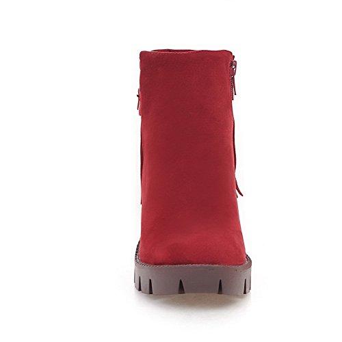Balamasa Piattaforma Donna Nappe Fibbie Stivali Scamosciati Abl10083 Rosso