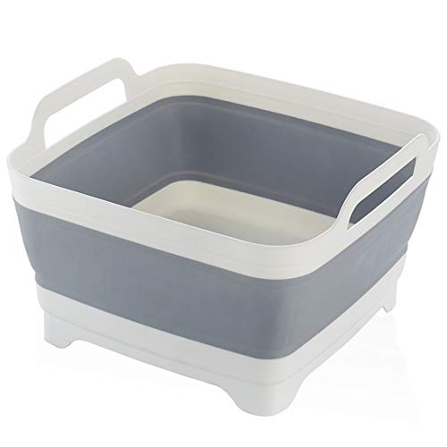 ZFW Folding Sink Kitchen Basket Drain Household Washing Fruit and Vegetable Storage PP+TPR Material, Modern Minimalist