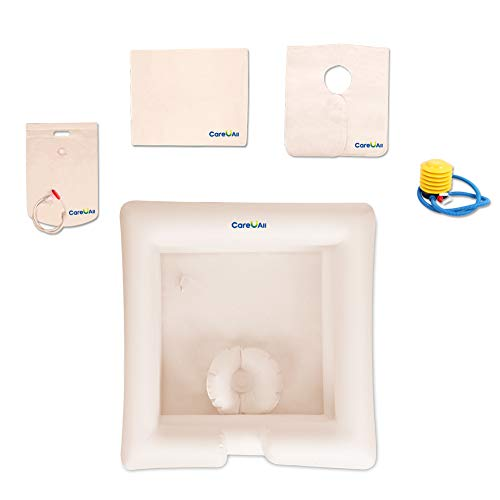 CAREUALL Portable Inflatable Hair Washing Basin Bed Shampoo Basin Bowl for Disabled, Elderly, Pregnancy, bedridden or Post-Surgical Patient,Bed-confined Patient for Overhead Bedside Shower