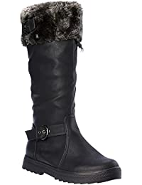orchid03 Womens Winter Boots Fur Lining Cold-Weather Shoes