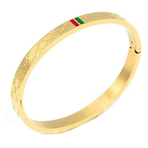 Amrdy Titanium Steel Bangle Women's Fashion Classic Lovely Brilliance Bracelet - Titanium Steel Red and Green Bracelets (Gold)